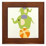 Elephants on a Ball Framed Tile