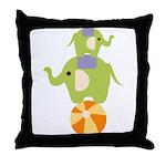 Elephants on a Ball Throw Pillow