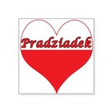 "Pradziadek Polish Heart Square Sticker 3"" x 3"""