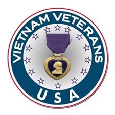VVA Purple Heart Round Car Magnet