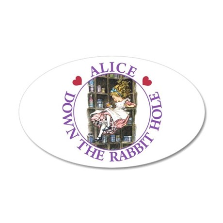 Alice - Down the Rabbit Hole 20x12 Oval Wall Decal
