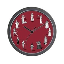 Shakespeare's Women Red Wall Clock