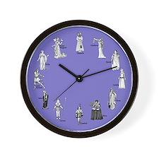 Shakespeare's Women Blue Wall Clock