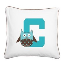 Letter C Owl Monogram Initial Square Canvas Pillow