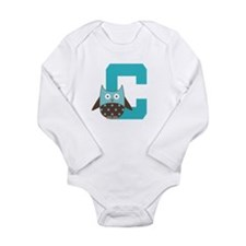 Letter C Owl Monogram Initial Long Sleeve Infant B