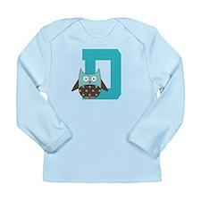 Letter D Monogram Owl Initial Long Sleeve Infant T