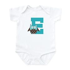 Letter E Monogram Owl Initial Infant Bodysuit