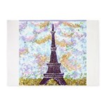 Eiffel Tower Pointillism by Kristie 5'x7'Area Rug