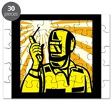 Welder Worker Welding Torch Retro Puzzle