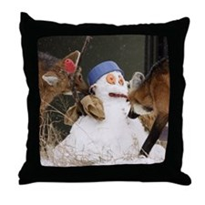Foxes With Snowman Throw Pillow