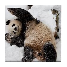 Panda Playing in Snow Tile Coaster