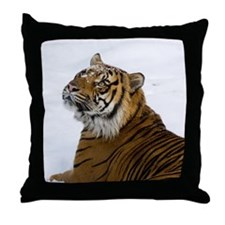 Tiger Laying In Snow Throw Pillow