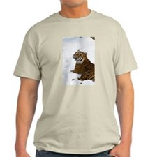 Tiger Laying In Snow Light T-Shirt