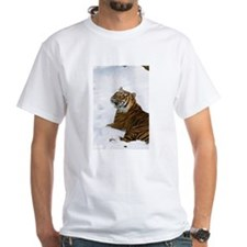 Tiger Laying In Snow White T-Shirt