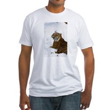 Tiger Laying In Snow Fitted T-Shirt