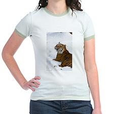 Tiger Laying In Snow Jr. Ringer T-Shirt