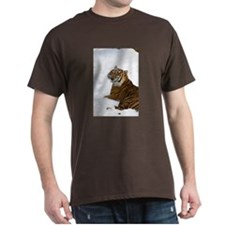 Tiger Laying In Snow Dark T-Shirt