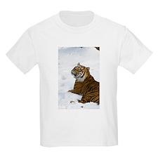 Tiger Laying In Snow Kids Light T-Shirt
