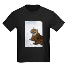 Tiger Laying In Snow Kids Dark T-Shirt