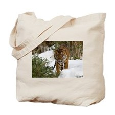 Tiger Walking in Snow Tote Bag