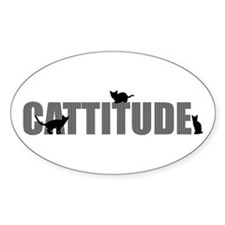 Cattitude Oval Decal