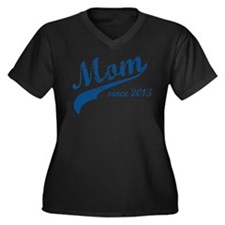 Mom Since 2013 Blue Women's Plus Size V-Neck Dark