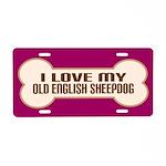 Old English Sheepdog Aluminum License Plate