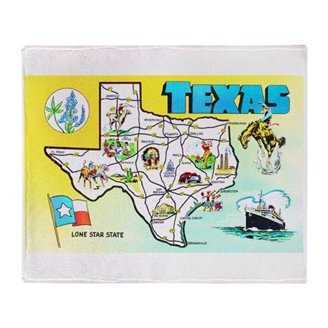 Texas Map Greetings Throw Blanket