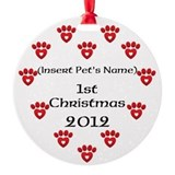 Personalized Pet's First Christmas Round Ornament