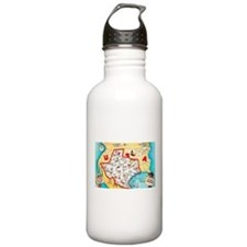 Texas Map Greetings Water Bottle
