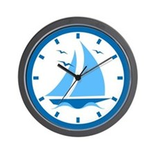Blue Sailboat Wall Clock