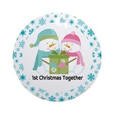 1st Christmas Together Snowman Couple Ornament (Ro