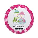 Snowman Love 1st Christmas Together Ornament (Roun