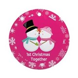 Kissing Snowmen 1st Christmas Together Ornament (R