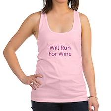 Will Run For Wine Racerback Tank Top