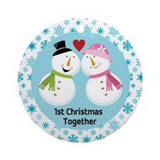 First Christmas Snowman Couple Ornament (Round)
