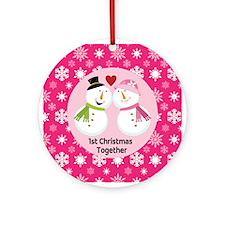 1st Christmas Snowmen Love Couple Ornament (Round)