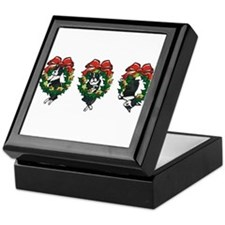 Bostons in Wreaths Keepsake Box