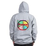 Abstract Peace Sign Zip Hoodie