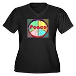 Abstract Peace Sign Women's Plus Size V-Neck Dark