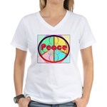 Abstract Peace Sign Women's V-Neck T-Shirt