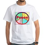 Abstract Peace Sign White T-Shirt