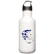 Greek Flag Map Sports Water Bottle