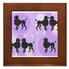 Retro poodle bag purple.PNG Framed Tile