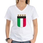 Italian 4 star FLAG(white).png Women's V-Neck T-Sh