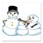 Snow family by Kristie Hubler Square Car Magnet 3