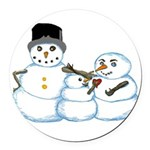 Snow family by Kristie Hubler Round Car Magnet
