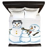 Snow family by Kristie Hubler King Duvet