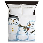 Snow family by Kristie Hubler Queen Duvet