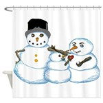 Snow family by Kristie Hubler Shower Curtain
